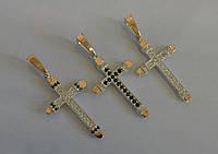 Мужской Серебрянный Крест с Золотыми Напайками