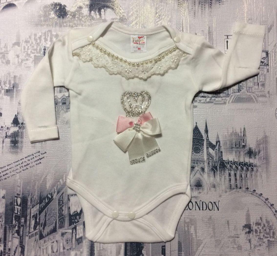 Нарядный боди для новорожденных с длинным рукавом на девочек 56-68