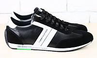 Кроссовки мужские кожаные Tommy Hilfiger черные с замшей и белыми вставками
