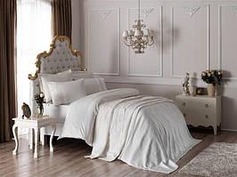 Подарочный набор постельное белье, покрывало и полотенца TAC ELENA EKRU