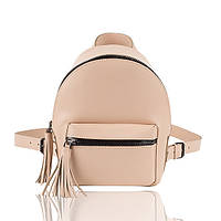 Рюкзак кожаный бежевый матовый, фото 1
