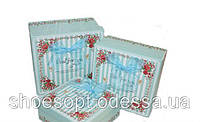 Подарочные коробки голубые Прованс набор 3шт 19,5х19,5х9,5 см, фото 1