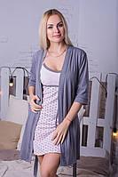 Ночная рубашка + халат MiaNaGreen К116н Серый + Розовый