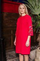 Красное женское пальто с вышивкой Дерево жизни