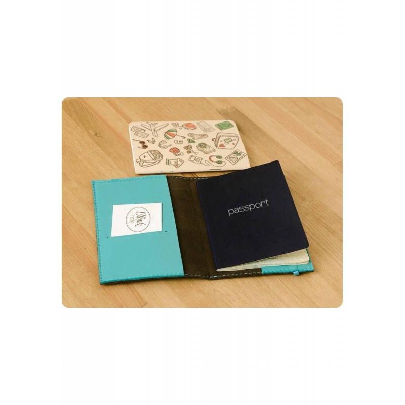 Обложка для паспорта 1.0 Орех-тиффани (кожа) +блокнотик, фото 2