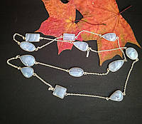 Ожерелье с натуральным сапфирином в серебре 90 см