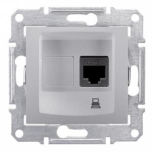 Компьютерная розетка RJ45, кат. 5е, экр., STP, Sedna алюминий