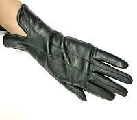 L020W Чёрные Перчатки женские кожа кашемир зимние
