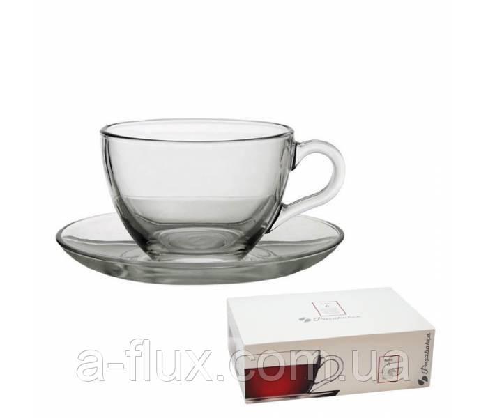 Чашка с блюдцем для чая Basic Pasabahce 220 мл