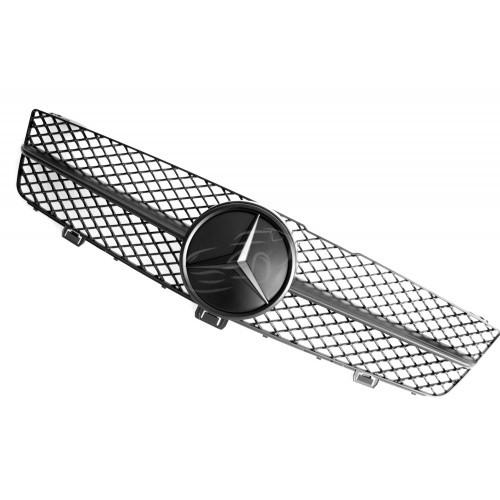 Решетка радиатора Mercedes W219 CLS рестайл стиль AMG (черный мат)