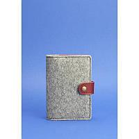 Обложка для паспорта 3.0 кожа + эко-фетр виноград