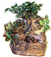 Фонтан подвесной интерьерный Пейзаж деревья штучные подсветка МЕЛЬНИЦА 35=35=16 078