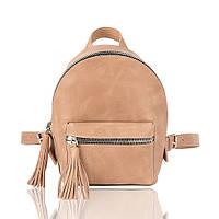 Рюкзак кожаный бежевый орландо, фото 1