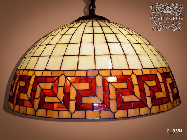 Подвесной светильник меандр в технике Тиффани