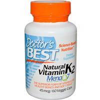 Натуральный витамин К 2, Doctor's Best, Менахонин - 7, 45 мкг, 60 капсул