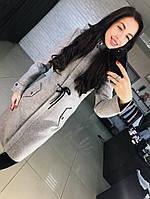 Шерстяное красивое женское пальто до колен с капюшоном , фото 1