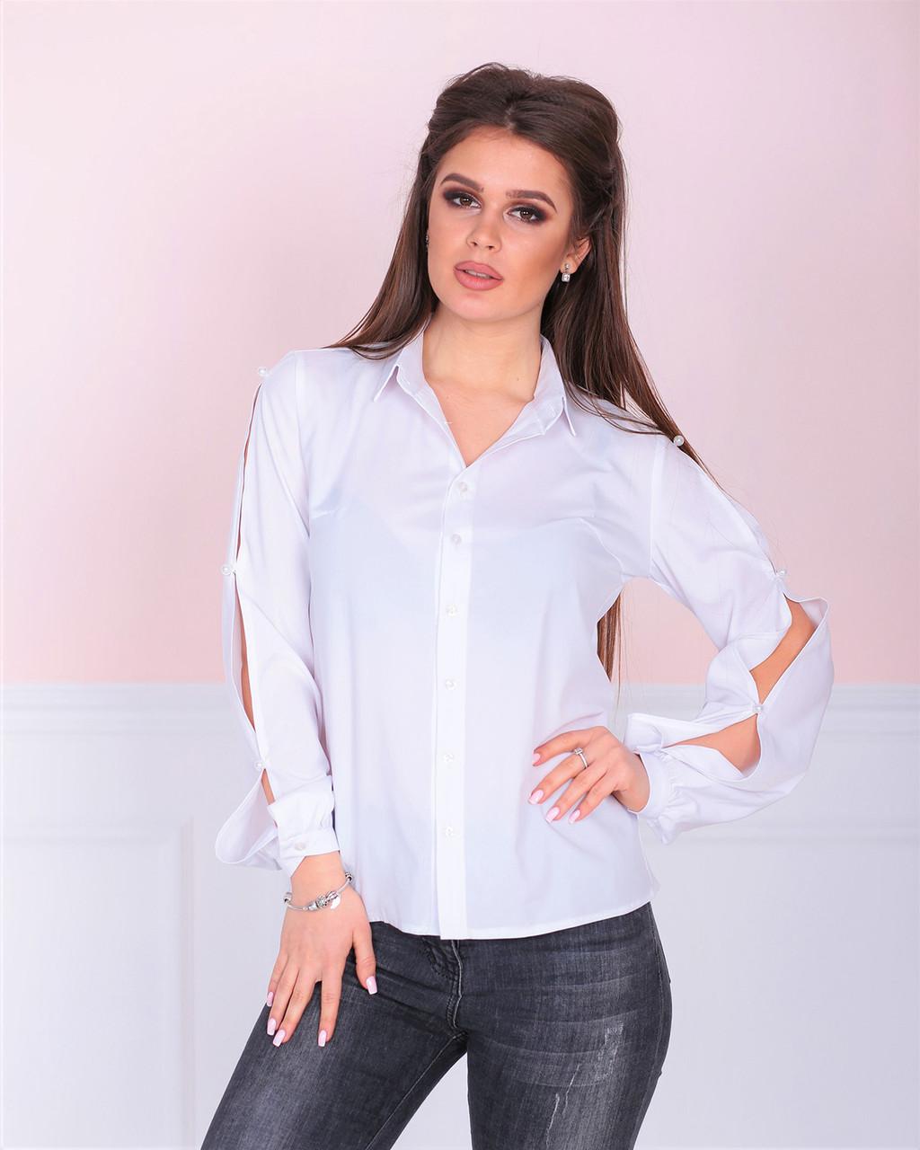 Рубашка с открытым рукавом белая