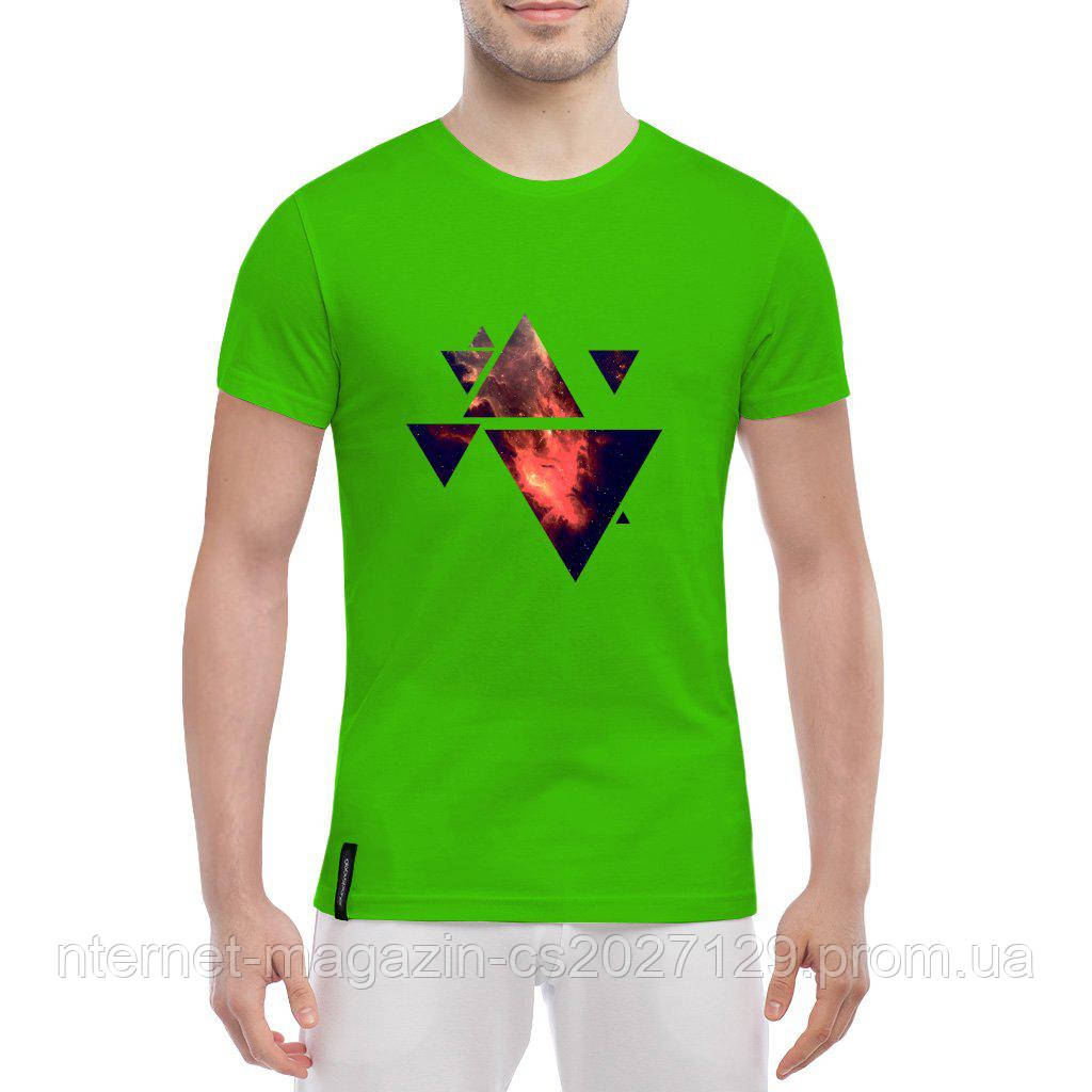 Футболка с печатью принта Треугольники Вселенная