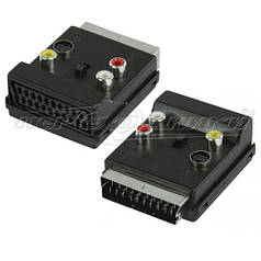 Переходник SCART штекер - SCART гнездо +3 RCA + S-Video с переключателем