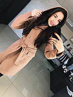 Кашемировое женское красивое  пальто до колен с капюшоном , фото 1