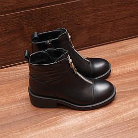 80011| Женские ботинки демисезонные на низком каблуке. Черные из натуральной кожи