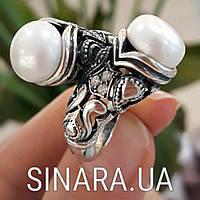 Серебряное кольцо с жемчугом и фианитами - Кольцо с жемчугом серебро - Кольцо с чернением жемчуг