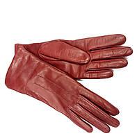 L114Ital Тёмно-Красные Перчатки женские кожа кашемир зимние