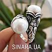 Серебряное кольцо с жемчугом и фианитами - Кольцо с жемчугом серебро - Кольцо с чернением жемчуг, фото 9