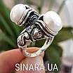 Серебряное кольцо с жемчугом и фианитами - Кольцо с жемчугом серебро - Кольцо с чернением жемчуг, фото 7