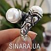Серебряное кольцо с жемчугом и фианитами - Кольцо с жемчугом серебро - Кольцо с чернением жемчуг, фото 8