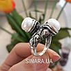 Серебряное кольцо с жемчугом и фианитами - Кольцо с жемчугом серебро - Кольцо с чернением жемчуг, фото 6