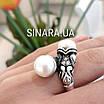 Серебряное кольцо с жемчугом и фианитами - Кольцо с жемчугом серебро - Кольцо с чернением жемчуг, фото 3
