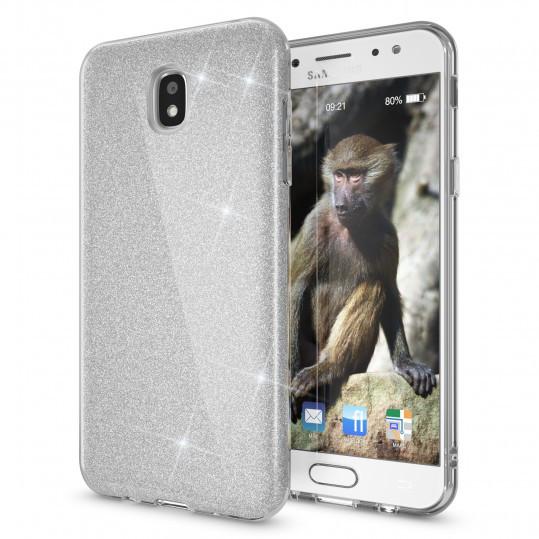 Чохол накладка для Samsung Galaxy J7 2017 J730 силіконовий 3-в-1, Fashion Case GLITTER, Сріблястий