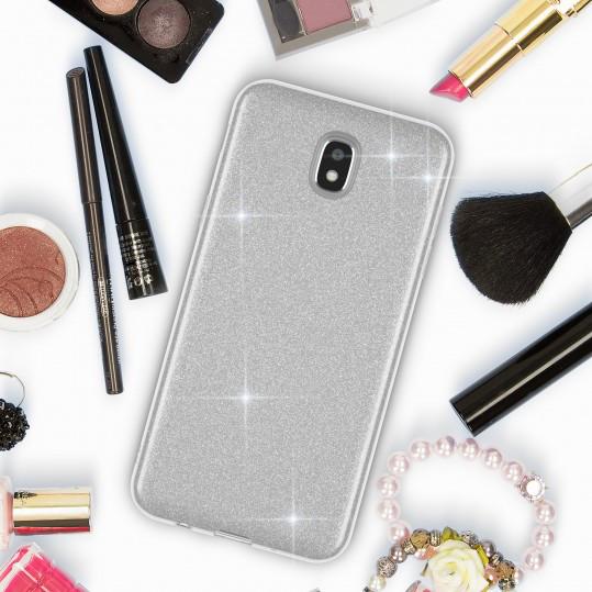 чохол Samsung Galaxy J7 2017 гламурний глянець сріблястий