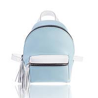 Рюкзак кожаный бело-голубой матовый, фото 1