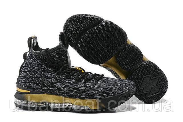 Баскетбольные кроссовки Nike Lebron 15 Grey Gold Реплика, фото 1