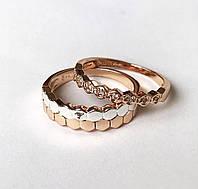 Женское кольцо Двойное , размер 17, 18, 19, 20