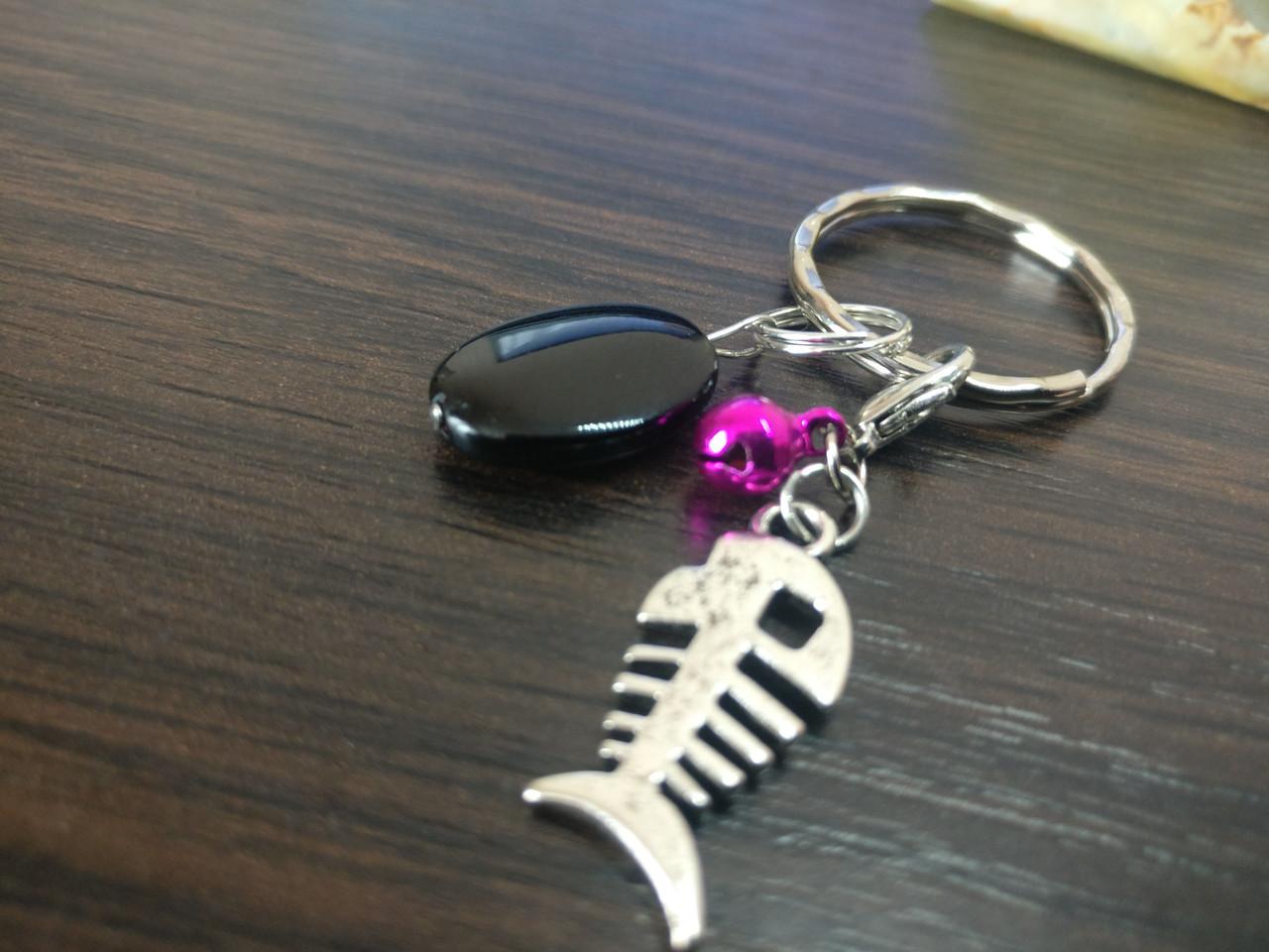 Брелок для ключей из черного агата