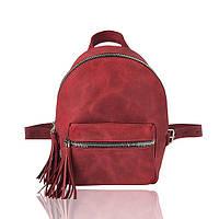 Рюкзак кожаный гранатовый с серебристыми молниями, фото 1