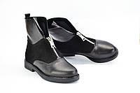 Ботинки черные комбинированные, спереди змейка