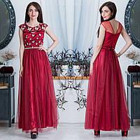 """Вечернее бордовое платье длинное с пышной юбкой """"Сакура"""", фото 1"""