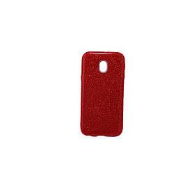 Чехол накладка для Samsung Galaxy J3 2017 J330 силиконовый 3-в-1, Fashion Case GLITTER, Красный