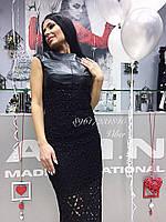 Красивое Платье Женское (XL) Кожа+Кружево Бренд