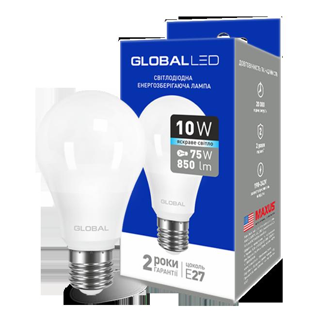 Лампа світлодіодна Global LED A60 220v 10w 4000K E27 1-GBL-164(264)