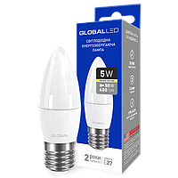 Лампа светодиодная GLOBAL LED C37 CL-F 220v 5w 3000K E27 1-GBL-131