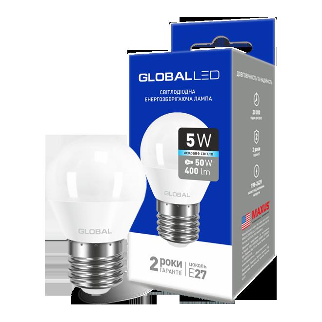 Лампа светодиодная GLOBAL LED G45 220v 5w 4100K E27 1-GBL-142