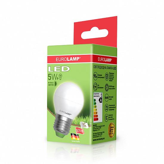 Лампа светодиодная EUROLAMP LED 5w 3000K E27 G45 05273 D шар