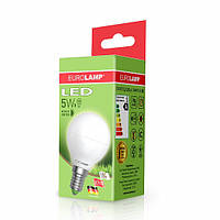 Лампа світлодіодна EUROLAMP 5w LED 3000K E14 G45 05143 D куля