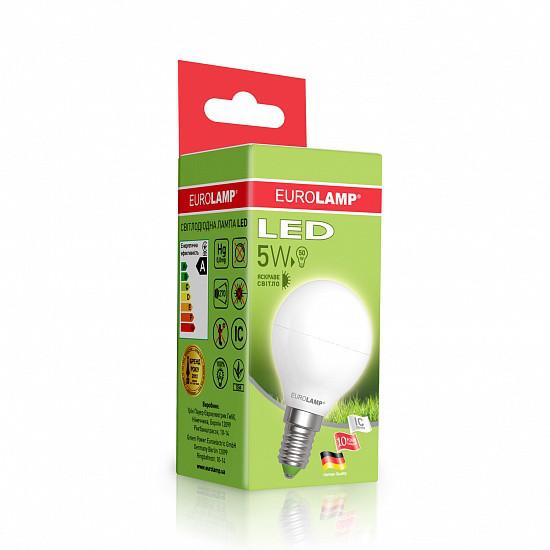 Лампа светодиодная EUROLAMP LED 5w 4000K E14 G45 05144 D шар
