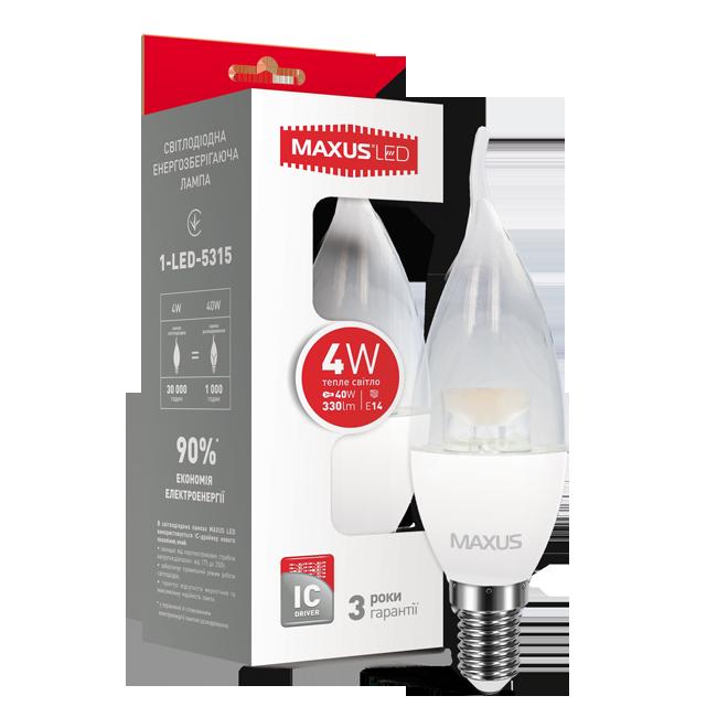 Лампа светодиодная MAXUS LED C37 CL-T 4w 3000K E14 1-LED-5315